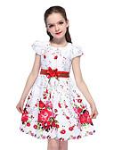 hesapli Elbiseler-Çocuklar Genç Kız Actif sevimli Stil Çiçekli Fiyonklar Kısa Kollu Diz-boyu Elbise Beyaz / Pamuklu