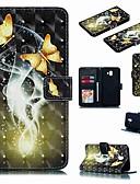Недорогие Чехлы для телефонов-Кейс для Назначение SSamsung Galaxy J7 (2017) / J7 (2018) / J6 (2018) Кошелек / Бумажник для карт / Защита от удара Чехол Бабочка / Мультипликация Твердый Кожа PU