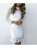 cheap Romantic Lace Dresses-Women's Lace Daily Basic Slim Bodycon Dress - Solid Colored White Stand Spring Cotton White M L XL