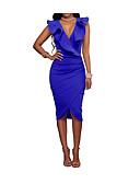 hesapli NYE Elbiseleri-Kadın's Büyük Bedenler Dışarı Çıkma Pamuklu Lale Kol İnce Bandaj Elbise - Solid, Bölünmüş Derin V Midi Diz-boyu Mavi / Fırfırlı / Sexy