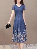 hesapli Maksi Elbiseler-Kadın's Sokak Şıklığı sofistike Çan Elbise - Solid Çiçekli, Büzgülü Örümcek Ağı Kırk Yama Midi