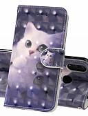 Недорогие Чехлы для телефонов-Кейс для Назначение Huawei Huawei Nova 3i / Huawei Honor 10 / Honor 10 Lite Кошелек / Бумажник для карт / Защита от удара Чехол Кот Твердый Кожа PU