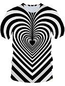 """זול טישרטים לגופיות לגברים-קולור בלוק / 3D צווארון עגול סגנון רחוב / מוּגזָם מועדונים האיחוד האירופי / ארה""""ב גודל טישרט - בגדי ריקוד גברים דפוס לבן / שרוולים קצרים"""