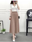 hesapli Gömlek-Kadın's Geniş Bacak Pantolon - Solid Büzgülü / Şifon Haki Tek Boyut