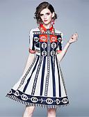 abordables Robes Imprimées-Femme Elégant Mi-long Trapèze Robe - Imprimé Arc-en-ciel L XL XXL Manches Courtes