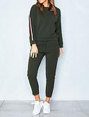 זול חליפות שני חלקים לנשים-מכנס פס, אחיד - קפוצ'ון כותנה יום יומי בגדי ריקוד נשים / חורף / מראה ספורטיבי
