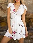 זול בייבידול וכותנות-צווארון V מעל הברך פרחוני שמלה גזרת A בגדי ריקוד נשים
