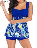 ieftine Bikini & Costume Baie-Pentru femei De Bază Albastru piscină Bleumarin Mov Tankini Costume de Baie - Geometric Bloc Culoare Imprimeu XXXL XXXXL XXXXXL Albastru piscină