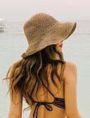 זול אוברולים טריים לתינוקות-קיץ בז' חאקי כובע קש כובע שמש אחיד קש בסיסי בגדי ריקוד נשים