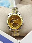 זול שעונים-בגדי ריקוד גברים שעון מכני מכני ידני מתכת אל חלד כסף חריתה חלולה שעונים יום יומיים אנלוגי אופנתי שלד - זהב