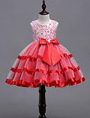 זול שמלות לילדות פרחים-נסיכה באורך  הברך שמלה לנערת הפרחים  - כותנה / תחרה / סאטן ללא שרוולים עם תכשיטים עם פפיון(ים) / תחרה / חגורה על ידי LAN TING Express