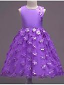 זול שמלות לילדות פרחים-נסיכה באורך  הברך שמלה לנערת הפרחים  - פוליאסטר / שיפון ללא שרוולים עם תכשיטים עם חרוזים / אפליקציות / חגורה על ידי LAN TING Express