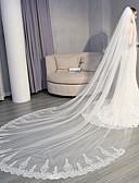 """זול הינומות חתונה-שכבה אחת אפליקצית קצה תחרה / אלגנטי ויוקרתי הינומות חתונה צעיפי קתדרלה עם נצנצים / אפליקציות 137.8 אינץ' (350 ס""""מ) תחרה / טול"""
