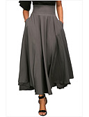 זול חצאיות לנשים-אחיד - חצאיות מקסי נדנדה בגדי ריקוד נשים שחור אפור יין M L XL