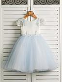 זול חליפות-נסיכה באורך הקרסול שמלה לנערת הפרחים - סאטן / טול רצועות עם תכשיטים עם חרוזים על ידי LAN TING BRIDE®