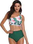 cheap Bikinis-Women's Basic Green Halter Briefs Tankini Swimwear - Floral Print M L XL Green