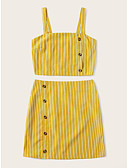 זול חליפות שני חלקים לנשים-חצאית גב חשוף / Ruched / טלאים, פסים - חולצה בסיסי / סגנון רחוב בגדי ריקוד נשים