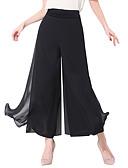 hesapli Kadın Etekleri-Kadın's Temel / Sokak Şıklığı Salaş Geniş Bacak Pantolon - Solid Bölünmüş Siyah XL XXL XXXL