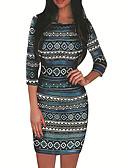 hesapli Print Dresses-Kadın's Temel Kılıf Elbise - Geometrik, Desen Diz üstü