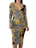 hesapli Maksi Elbiseler-Kadın's Bandaj Kılıf Elbise - Geometrik Midi