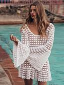 hesapli Maksi Elbiseler-Kadın's Boho A Şekilli Elbise - Solid, Dantel Arkasız Örümcek Ağı Mini Beyaz