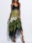 povoljno Ženska odjeća-Žene Elegantno Čipka Korice Haljina - Print, Geometrijski oblici S naramenicama Asimetričan