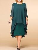 זול שמלות במידות גדולות-מידי תחרה דפוס, אחיד פרחוני - שמלה ישרה משוחרר תחרה אלגנטית בגדי ריקוד נשים