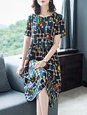 hesapli Print Dresses-Kadın's Temel Kılıf Elbise - Geometrik Midi