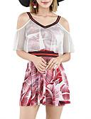 hesapli Bikiniler ve Mayolar-Kadın's YAKUT Yonca Tankini Mayolar - Zıt Renkli M L XL YAKUT