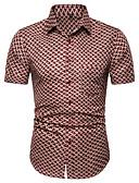 """זול חולצות לגברים-גיאומטרי בסיסי האיחוד האירופי / ארה""""ב גודל כותנה, חולצה - בגדי ריקוד גברים סרוג פול / שרוולים קצרים"""