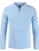 זול חולצות לגברים-אחיד צווארון V וינטאג' / בסיסי מידות גדולות פשתן, טישרט - בגדי ריקוד גברים כחול נייבי / שרוול ארוך
