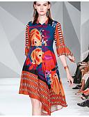 hesapli Kadın Elbiseleri-Kadın's Temel Zarif Gömlek Elbise - Zıt Renkli, Kırk Yama Diz-boyu