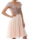 hesapli Print Dresses-Kadın's Büyük Bedenler Zarif Kılıf Elbise - Solid, Payetler Şifon V Yaka Diz-boyu