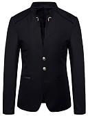 hesapli Erkek Gömlekleri-Erkek Büyük Bedenler Blazer Dik Yaka Polyester Siyah / Koyu Mavi / Şarap / İnce