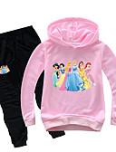 זול סטים של ביגוד לבנות-סט של בגדים כותנה שרוול ארוך דפוס דפוס בסיסי בנות ילדים / פעוטות