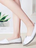 hesapli Maksi Elbiseler-Kadın's Mokasen & Bağcıksız Ayakkabılar Düz Taban Yuvarlak Uçlu Deri İngiliz / Minimalizm Yürüyüş İlkbahar & Kış / Yaz Siyah / Beyaz / Gümüş