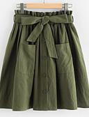 hesapli Kadın Pantolonl-Kadın's Temel A Şekilli Etekler - Solid Ordu Yeşili Tek Boyut / İnce
