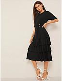 hesapli Kadın Elbiseleri-Kadın's Temel A Şekilli Elbise - Solid Midi