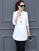 billige Minikjoler-Løstsittende Skjortekrage Skjorte Dame - Ensfarget Hvit