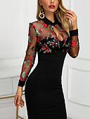 hesapli Maksi Elbiseler-Kadın's Kılıf Elbise - Çiçekli, Nakış Diz üstü