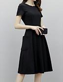 hesapli Print Dresses-Kadın's Zarif Little Black Elbise - Solid, Kırk Yama Midi