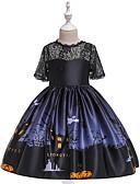 זול אוברולים טריים לתינוקות לבנים-שמלה מעל הברך שרוולים קצרים תחרה / דפוס טלאים וינטאג' / בסיסי בנות ילדים / פעוטות