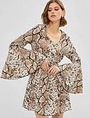 hesapli Mini Elbiseler-Kadın's Zarif A Şekilli Elbise - Hayvan, Desen Diz üstü