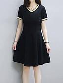 hesapli Print Dresses-Kadın's Temel A Şekilli Elbise - Solid Diz-boyu