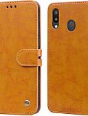 זול מגנים לטלפון-מגן עבור Samsung Galaxy Galaxy M20(2019) מחזיק כרטיסים / נפתח-נסגר כיסוי מלא אחיד קשיח עור PU