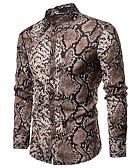 זול חולצות לגברים-משובץ / הדפס נחש פאנק & גותיות / סגנון סיני מידות גדולות כותנה, חולצה - בגדי ריקוד גברים אפור / שרוול ארוך