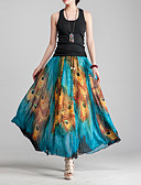 זול חצאיות לנשים-פרחוני / חיה - חצאיות מקסי נדנדה בוהו / סגנון רחוב בגדי ריקוד נשים פול XL XXL XXXL / משוחרר