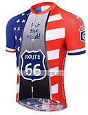 cheap Men's Tees & Tank Tops-21Grams American / USA National Flag Men's Short Sleeve Cycling Jersey - Red+Blue Bike Jersey Top Breathable Moisture Wicking Quick Dry Sports Terylene Mountain Bike MTB Clothing Apparel / Race Fit