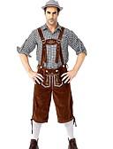 hesapli Oktoberfest-Kasım Festivali Kıyafetler Lederhosen Erkek Bluz Pantalonlar Bavyera Kostüm Kırmızı+Kahverengi Kahverengi+Gri Yeşil / Siyah
