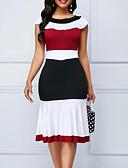 hesapli Print Dresses-Kadın's Kılıf Elbise - Zıt Renkli Diz-boyu